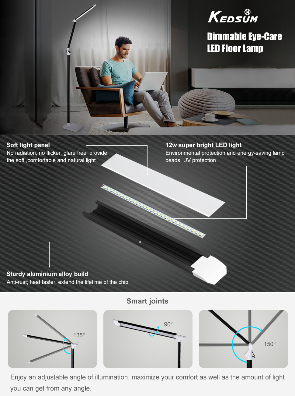 Kedsum dimmable eye care led floor lamp with remote control switch kedsum 12 watt remote control led floor lamp aloadofball Images