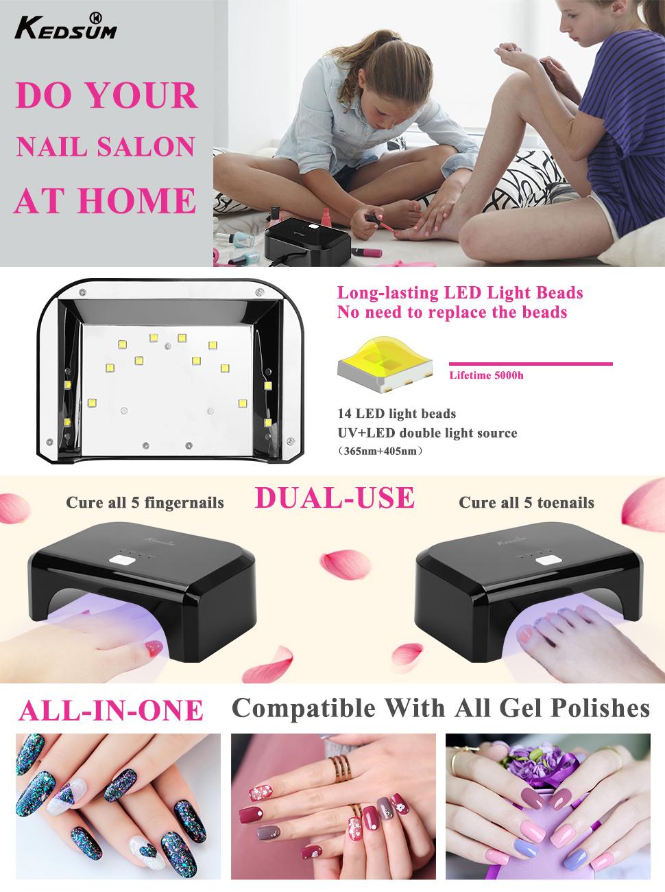 Amazon.com: KEDSUM 24W LED UV Nail Dryer Nail Lamp Curing Lamp for ...