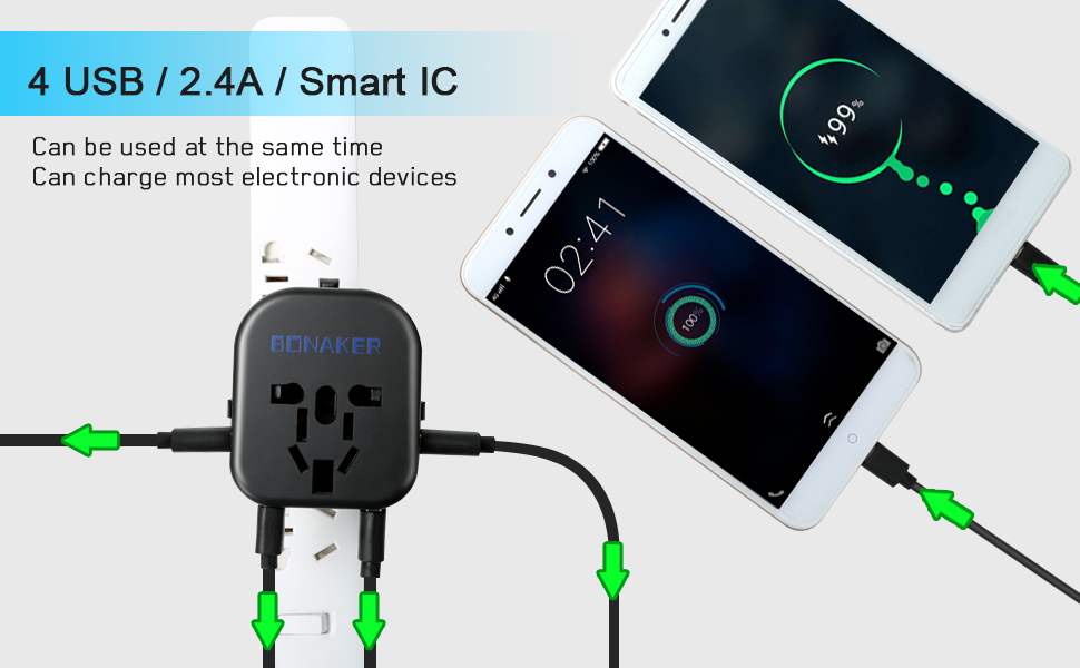 Fast Charging Outlet with Smart 4 USB Ports