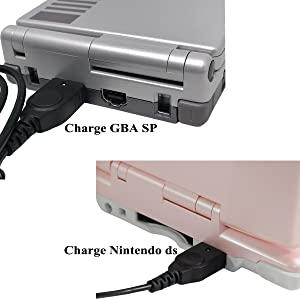 Exlene Gameboy Advance sp Charger (2 Pack), GBA sp Charger Cable Cord Compatible with DS NDS GBA Game Boy Advance SP