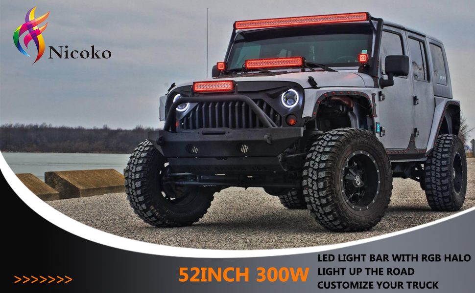 Led Light Bar For Trucks >> Nicoko 52 Inch 300w Curved Led Light Bar With Chasing Rgb Halo Ring For 10 Solid Color Changing With Strobe Flashing Modes Spot Flood Combo Beam Ip67