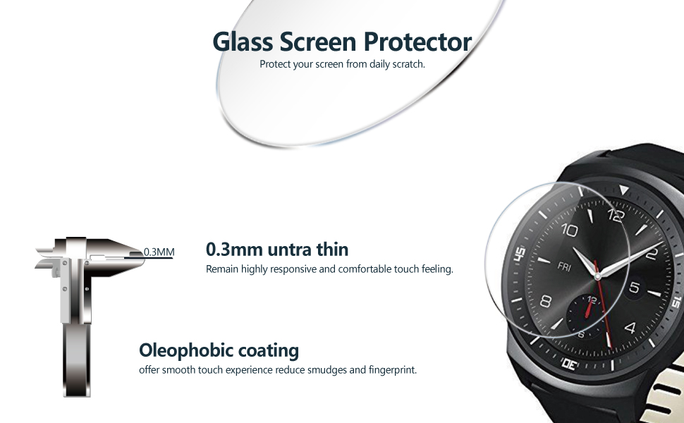 CENTAURUS LG G Watch R Glass Screen Protector-(3 Packs) Anti-Scratch Ultra-Thin Shatter Proof 2.5D Arc Edges HD Clear 9H Hardness Smart Watch Tempered ...