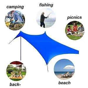 Hammock Cover 270X270CM Rain Fly Outdoor Waterproof Campings Tent Tarp Shelter