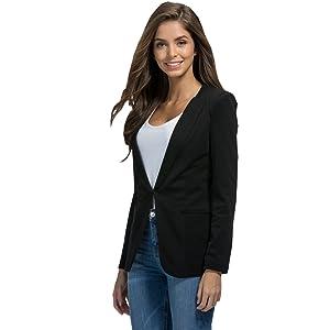 X-Future Womens with Pockets Roll Up Sleeve Casual Slim Stripe Blazer Jacket