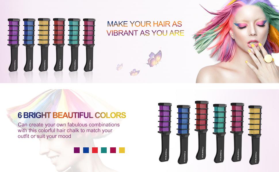 Amazon Pixnor Hair Chalk Comb Shimmer Temporary Hair Color