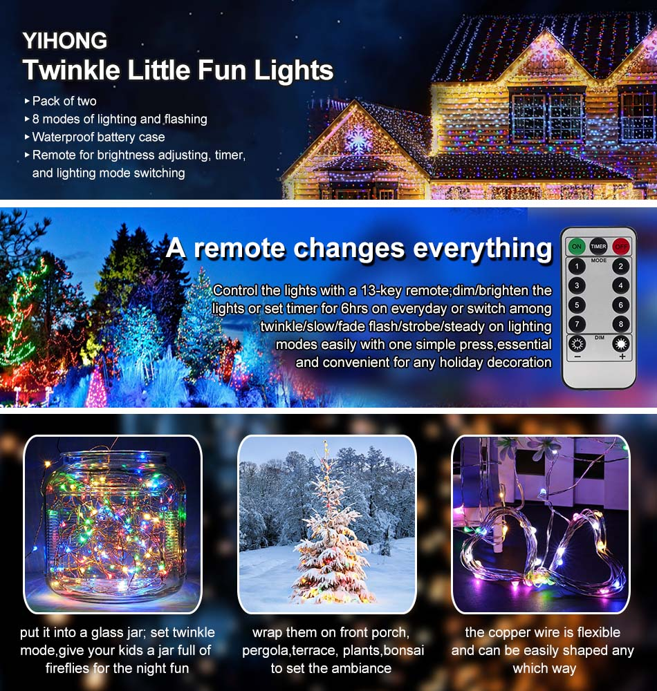 Yihong 2 Set String Lights Led Fairy Battery 8 How To Wire Two Controlled From One Switch Case Is Ip 44 Waterproof Which Means It Can Meet Normal Use Outside But Not Enough Put Into Water Continuously The Copper Parts