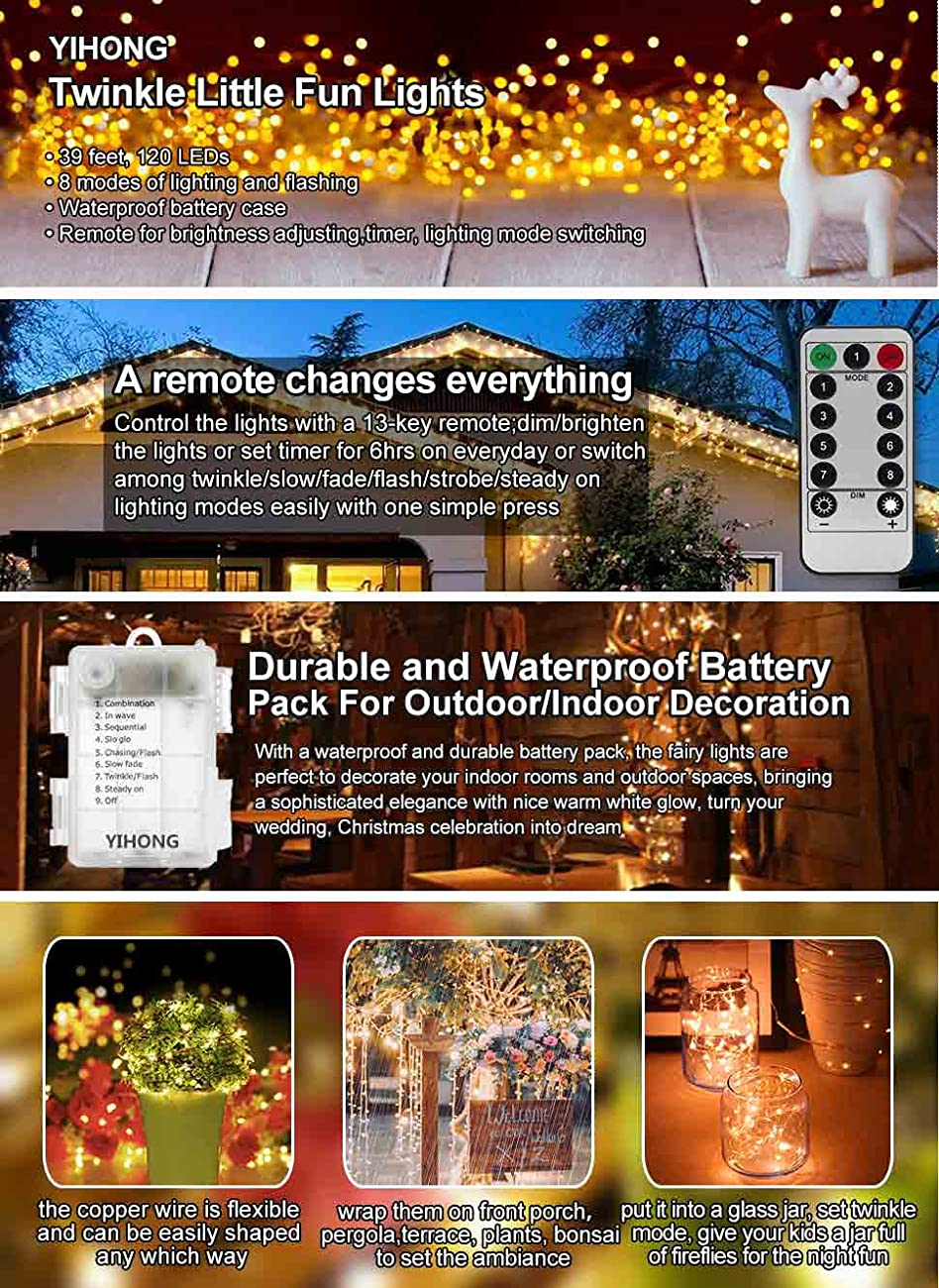 Yihong Fairy Lights Battery Operated 8 Modes String Wiring A Timer Light Switch Case Is Ip 44 Waterproof Which Means It Can Meet Normal Use Outside But Not Enough To Put Into Water Continuously The Copper Wire Parts