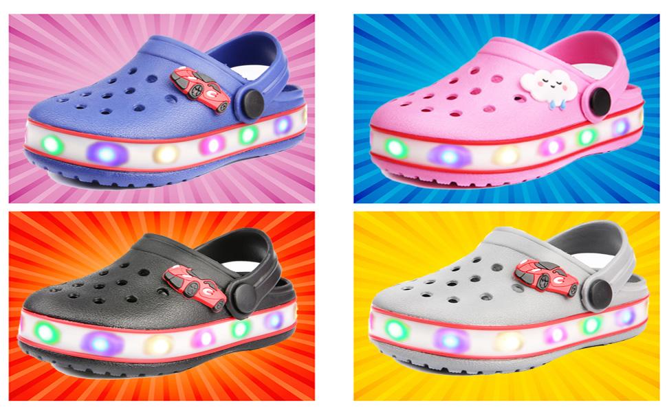 VIYEAR Kids Boys Girls LED Clogs Cute Lightweight Summer Slippers Garden Beach Sandals