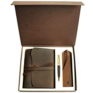 leather journal hidden penholder rustic leather old world bookmark daily diary authentic gift box