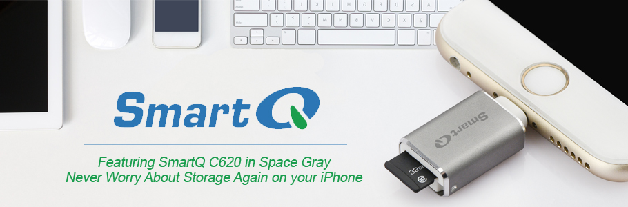 SmartQ C620 MFI Lightning MicroSD Card Reader Connector for Easy File  Transfer, Backup Files, Save Storage Space on Your Device (Space Grey)