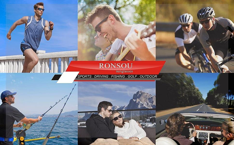 bf79a26201 Amazon.com  RONSOU Men s HD Polarized Night Vision Anti-glare ...