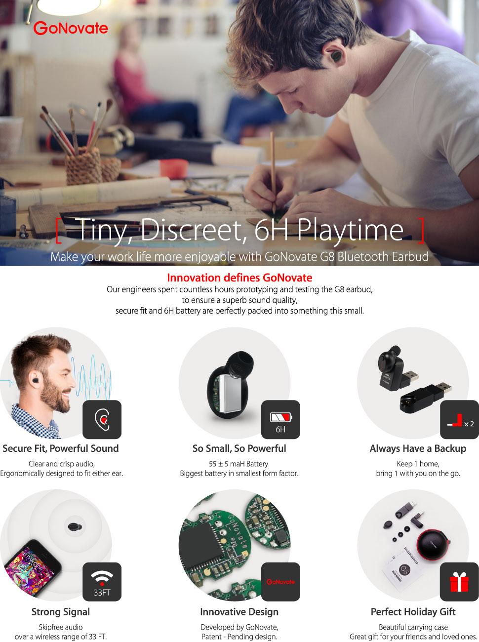 Gonovate G8 Bluetooth Earbud 6 Hour Playtime W 2 X Headset 41 Handsfree Headphones Mini L1 Sj0048