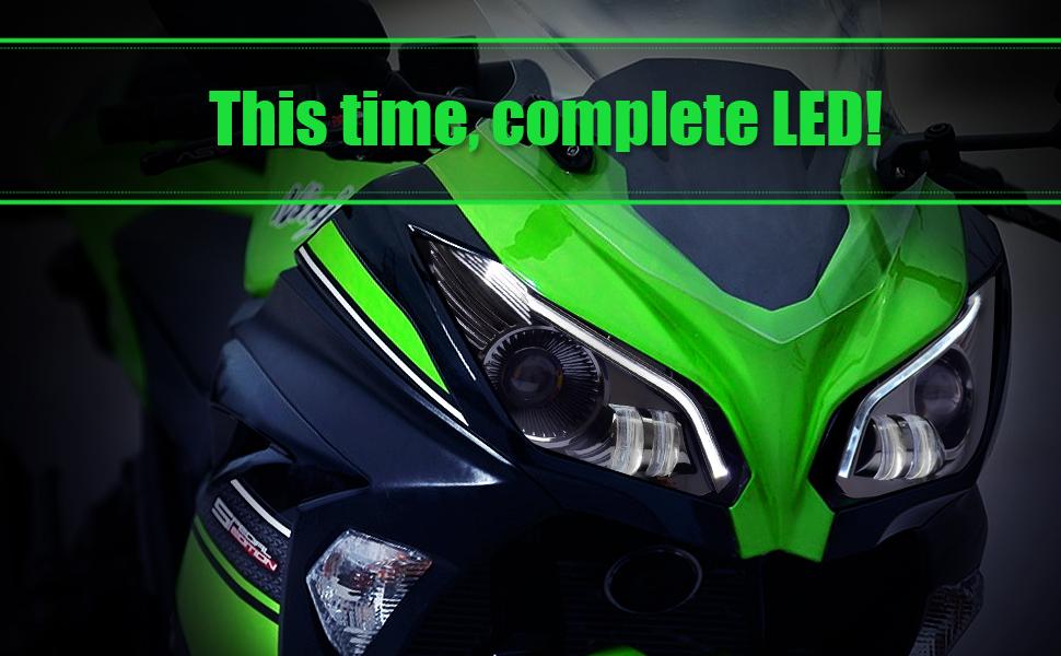 KT Full LED Headlight Assembly for Kawasaki Ninja 300 Ninja 250 2013-2018 V2 White Optical Fiber DRL