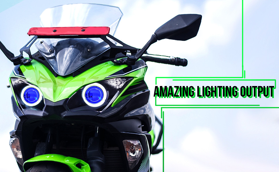 KT LED Angel Eye Headlight Assembly for Kawasaki Ninja 650 Blue Demon Eye