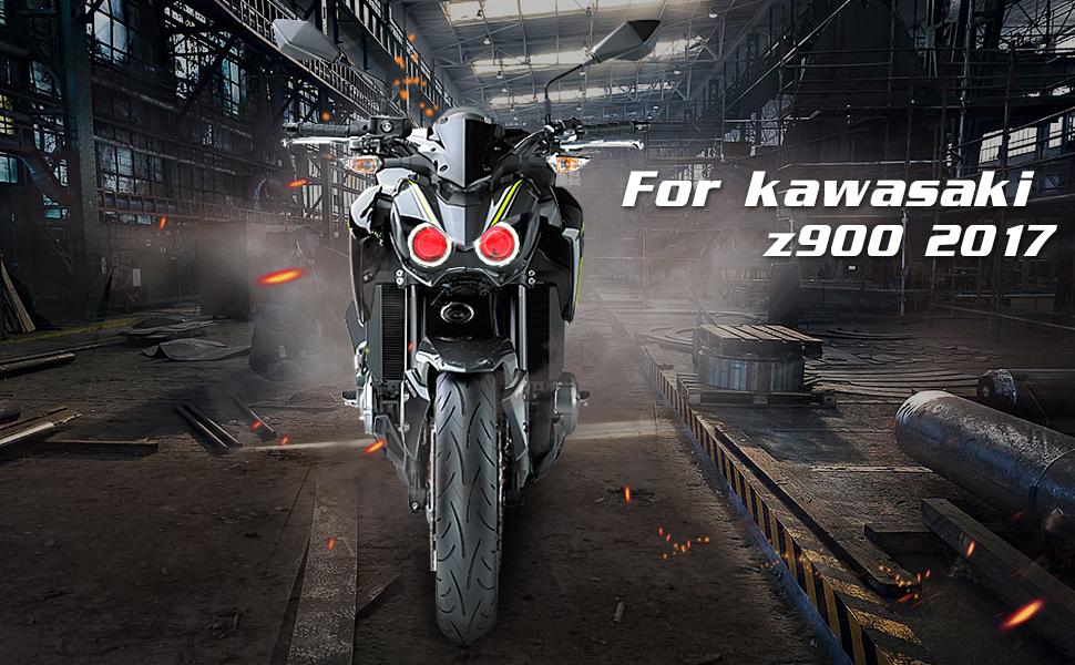 KT LED Angel Eye Headlight Assembly for Kawasaki Z900 2017+ Red Demon Eye