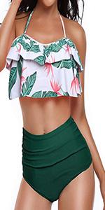 Womens Retro Ruffle Two Piece Swimsuits Halter High Waisted Swimwear