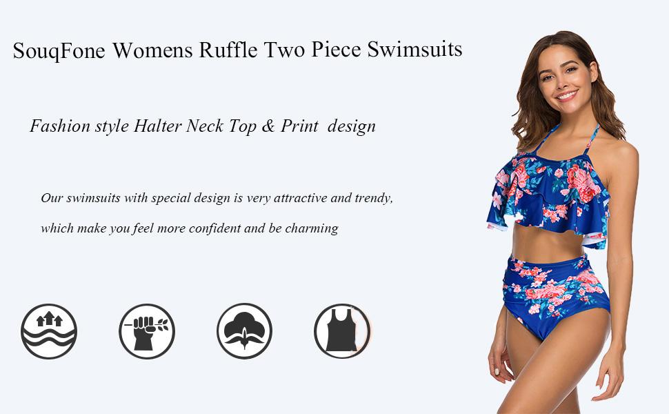 YunZyun Women High Waist Bikinis Ruffle Swimwear Swimuit Female Retro Beachewear Bikini Set Womens High-Waist Ruffle Bikini
