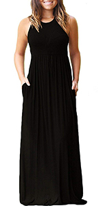 Womens Casual Maxi Dress Loose Plain Pleated Long Dresses with Pockets