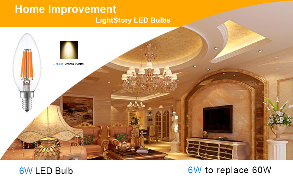 LightStory Chandelier LED Bulb Dimmable, E12 Candle Base 2700K 600 ...