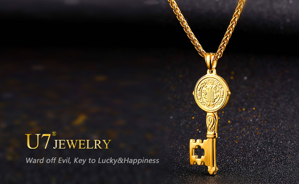 Vintage Saint Benedict Medal Pendant Necklace Men 316l Stainless Steel Never Fade Catholic Church Cross Pendants Jewelry