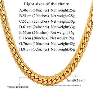 5f89fa31a8cc0 U7 Men Women 18K Gold Plated Necklace with Gift Box 18KGP Stamp Hip Hop  Jewelry 4 Colors 6MM-9MM Wide Snake Curb Chain Necklace,18