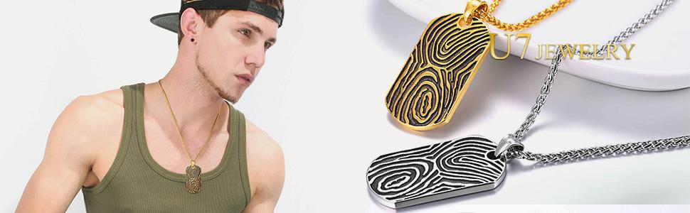 special fingerprint tags pendant for man