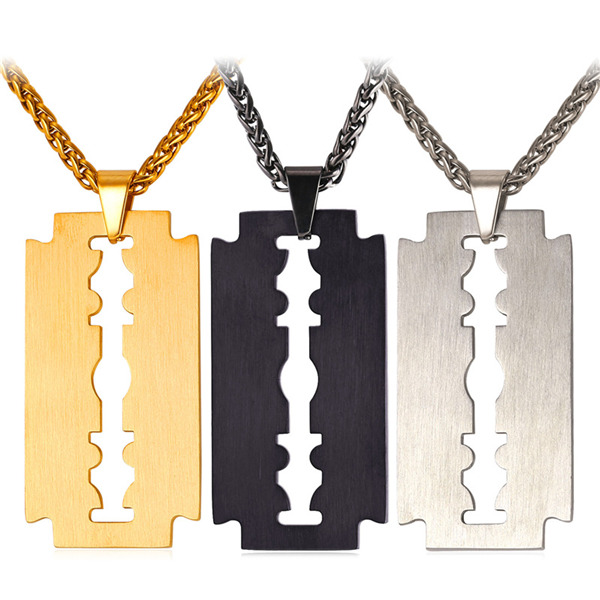 7fe1cf7919 U7 Men Cool Necklace Stainless Steel/Black Gun Plated/18K Gold Plated Razor  Blade Pendant, with 22 Inch Chain