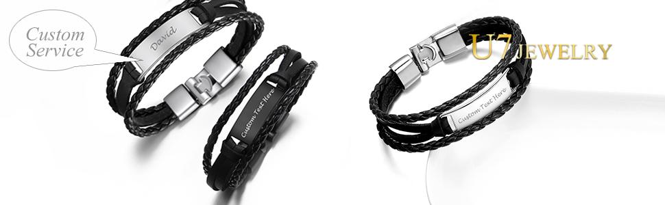 Men Women Trendy Braided Leather with Metal Free Custom Engraving ID Bracelet