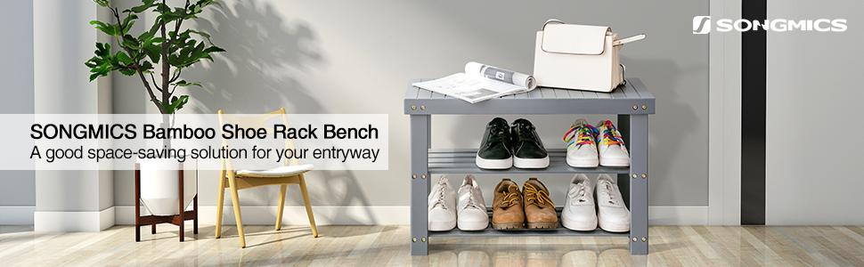 Amazon.com: SONGMICS - Banco de zapatos de 3 niveles ...