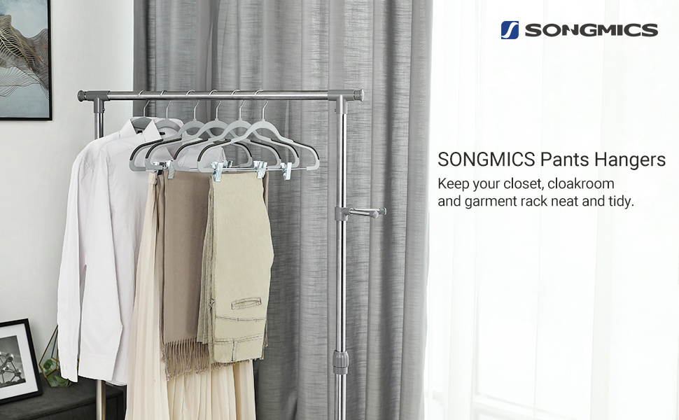 SONGMICS Set of 20, Plastic Pants Hangers with Clips, 360° Swivel Hook, Non-Slip, Thin, Space-Saving, for Trousers Skirts Dresses Towels Scarves, Gray ...