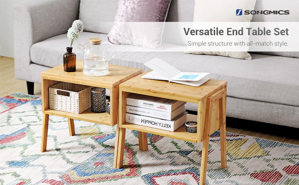 Amazon.com: SONGMICS Set of 2 Bamboo Nightstand, Side End Table ...