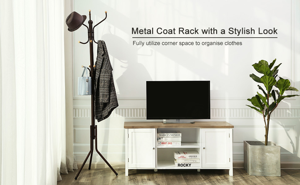 SONGMICS Metal Coat Rack 12 Hooks Display Hall Tree for Clothes Hats and Bags Espresso URCR18Z