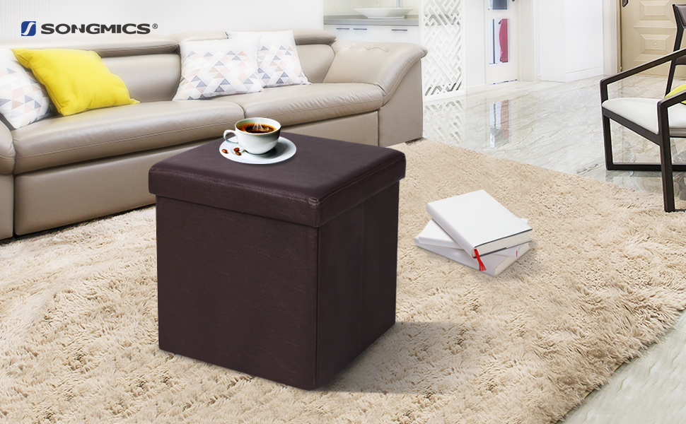songmics folding storage ottoman cube foot rest stool faux leather