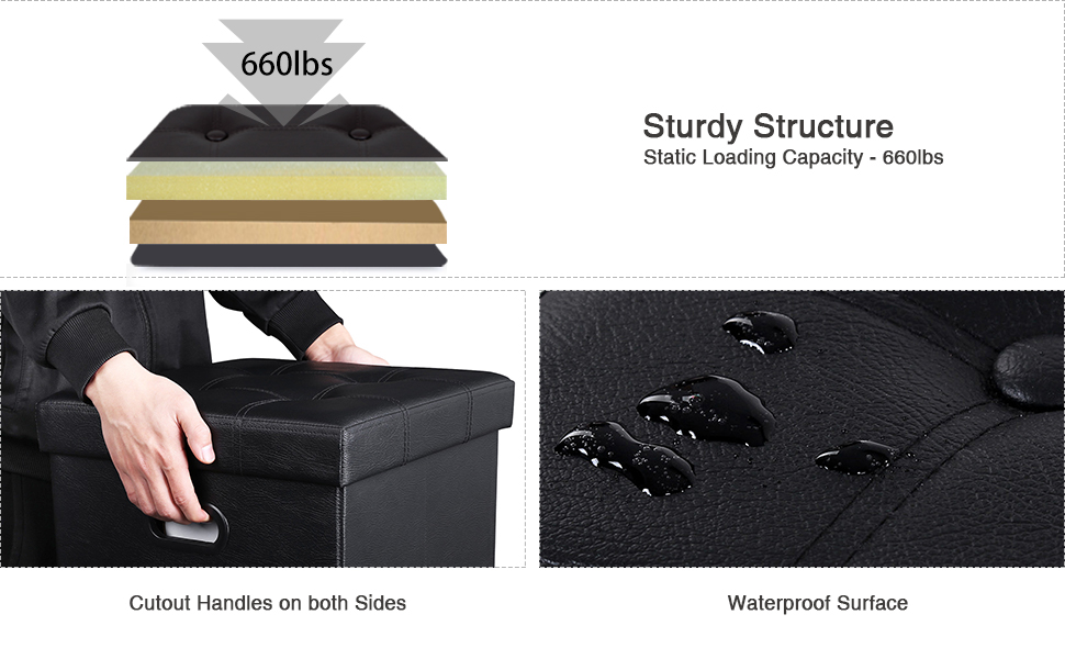 Amazon Com Songmics 15 Quot X 15 Quot X 15 Quot Storage Ottoman Cube