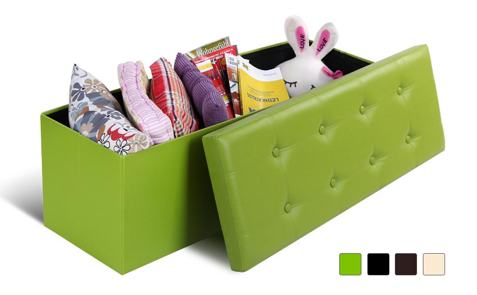Attirant SONGMICS Faux Leather Folding Storage Ottoman Bench
