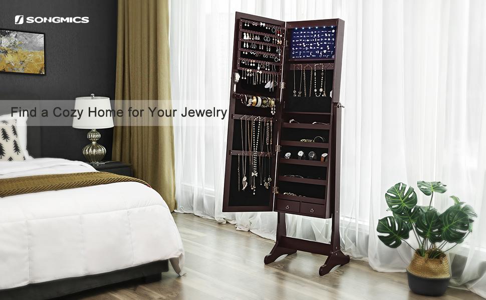 Amazon Songmics 6 Leds Jewelry Cabinet Large Mirrored Jewelry