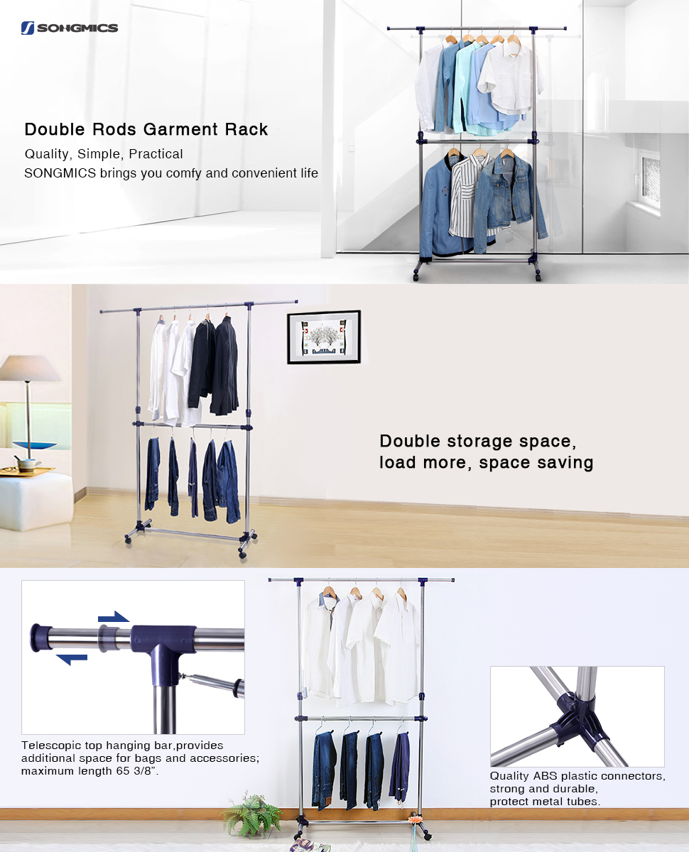 The SONGMICS Adjustable Garment Rack Is Firm, Compact And Beautiful In  Design. It Has Plenty Of Space For Your Clothes, Garments, Coats, Shirts,  Pants, ...