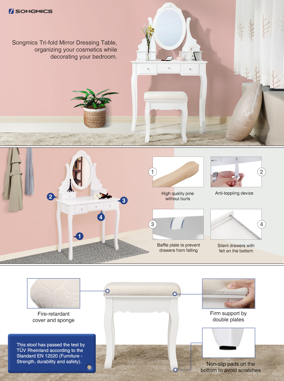 dressing room furniture. Are You Looking For A Unique But Practical Dressing Table? Try This SONGMICS Vanity Set. Made Of High-quality Wood, Big Table Is Rather Stable Room Furniture