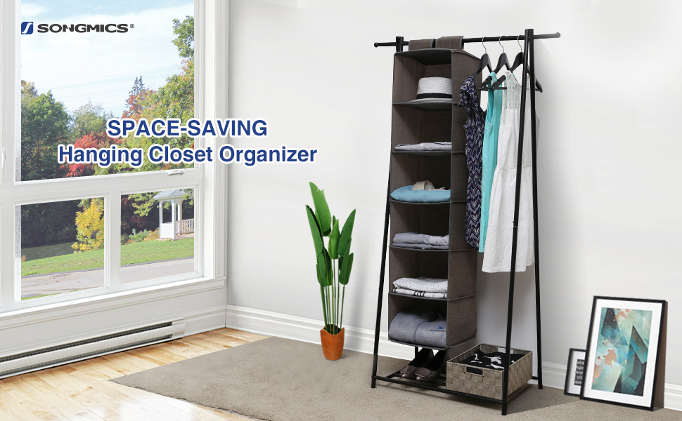 SONGMICS Sturdy U0026 Durable 6 Shelf Hanging Closet Organizer