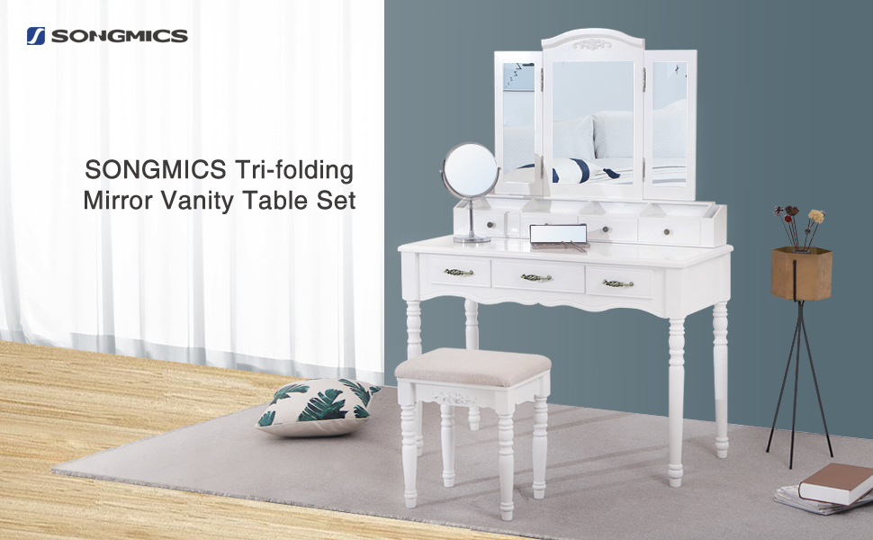 Still Worry About Your Messy Vanity Table? Try This SONGMICS Tri Folding  Mirror Vanity Set. It Features Large Storage Capacity For Organizing Your  Beauty ...