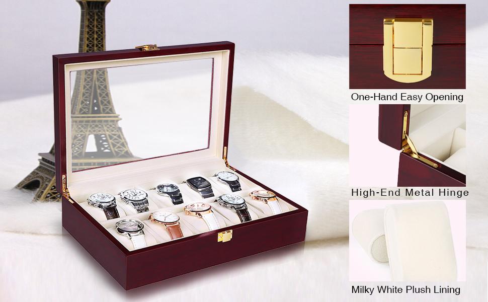 Amazon.com: SONGMICS 10 ranuras caja de reloj Cherry reloj ...