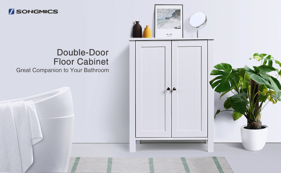 Amazon.com: SONGMICS Bathroom Floor Storage Cabinet with Double Door ...