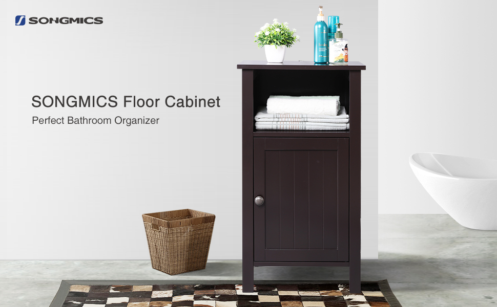 SONGMICS wooden free standing bathroom storage cabinet is an awesome choice  for your bathroom d cor  It comes in amble storage space  high quality and. Amazon com  SONGMICS Bathroom Floor Storage Cabinet Adjustable