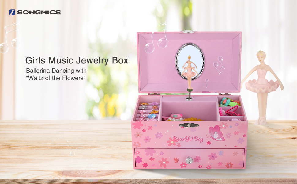 Amazoncom SONGMICS Ballerina Musical Jewelry Box for Girls