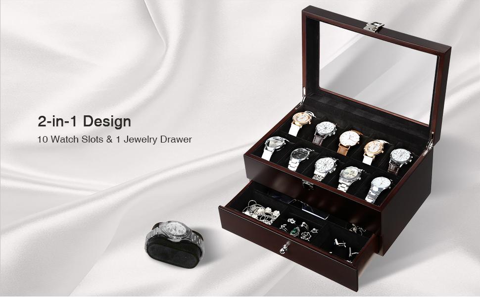 Amazoncom SONGMICS Mens Wooden Watch Box 10 Slots Jewelry