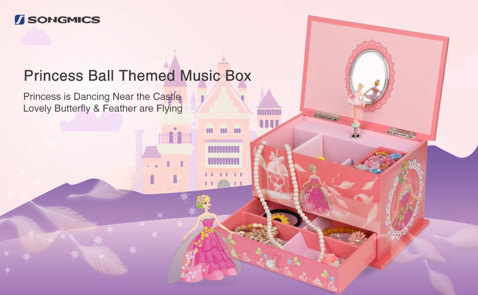 Amazoncom SONGMICS Musical Jewelry Box Ballerina Jewel Storage