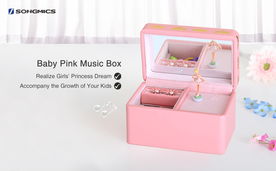 Amazoncom SONGMICS Girls Musical Jewelry Box with Ballerina Pink