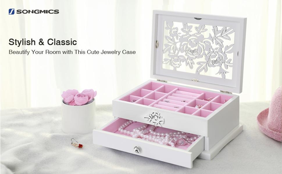 Amazoncom SONGMICS Girls Jewelry Box Wooden Flower Carving
