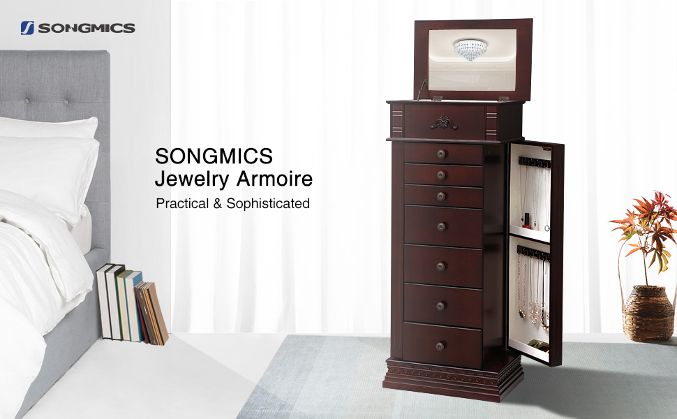 keep your jewelry safe and organized in one place the extra large songmics jewelry armoire - Large Jewelry Armoire