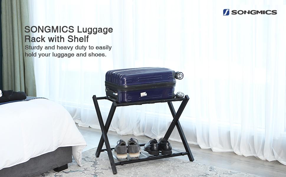 Amazon Com Songmics Metal Folding Luggage Rack With Shelf